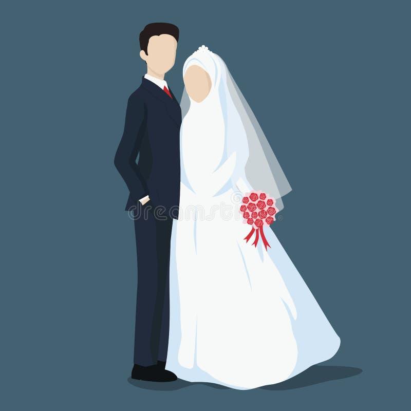 Braut und Bräutigam, Heiratszeichentrickfilm-figur mit hijab vektor abbildung