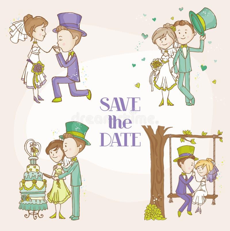 Braut und Bräutigam - Hochzeits-Gekritzel-Satz lizenzfreie abbildung