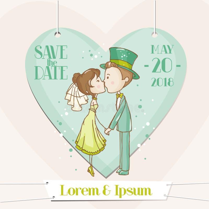 Braut und Bräutigam - Hochzeits-Karte stock abbildung