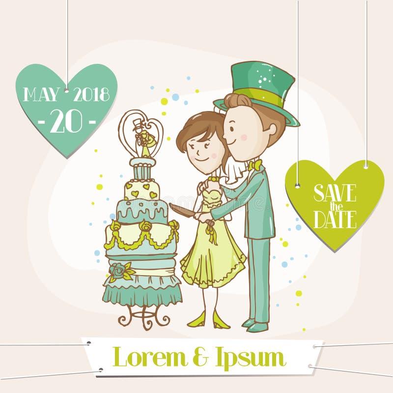 Braut und Bräutigam - Hochzeits-Karte lizenzfreie abbildung