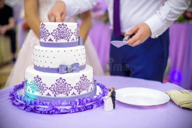 Braut und Bräutigam am Hochzeitsempfang, der die Hochzeitstorte schneidet lizenzfreies stockbild