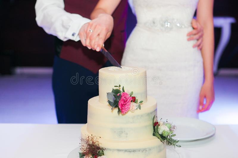 Braut und Bräutigam am Hochzeitsempfang, der die Hochzeitstorte schneidet lizenzfreie stockfotos