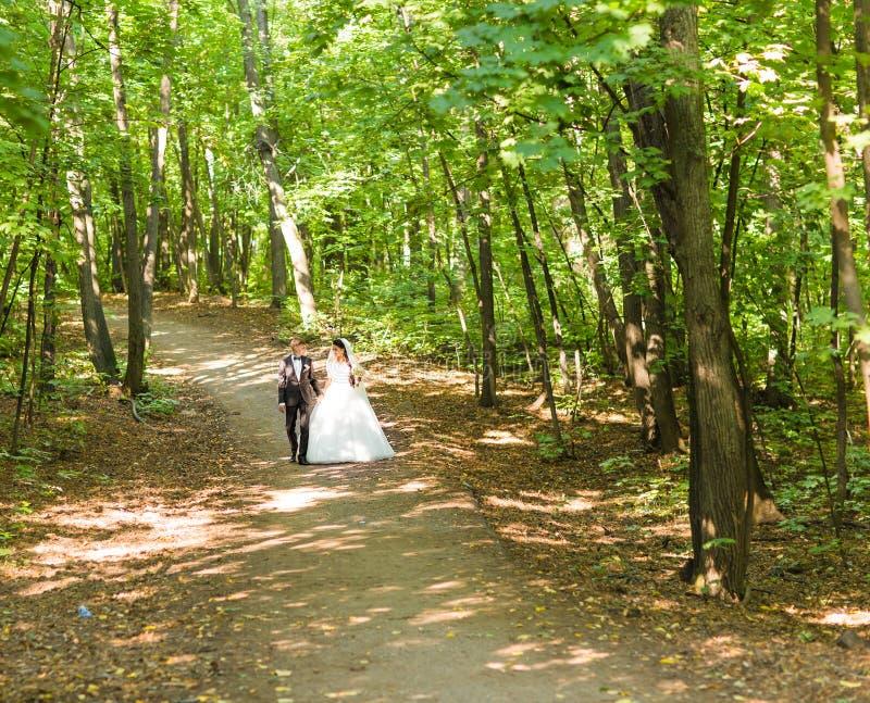 Braut und Bräutigam am Hochzeitstag draußen gehend auf Frühlingsnatur Brautpaare, glückliche Jungvermähltenfrau und Mannumfassung lizenzfreie stockfotografie