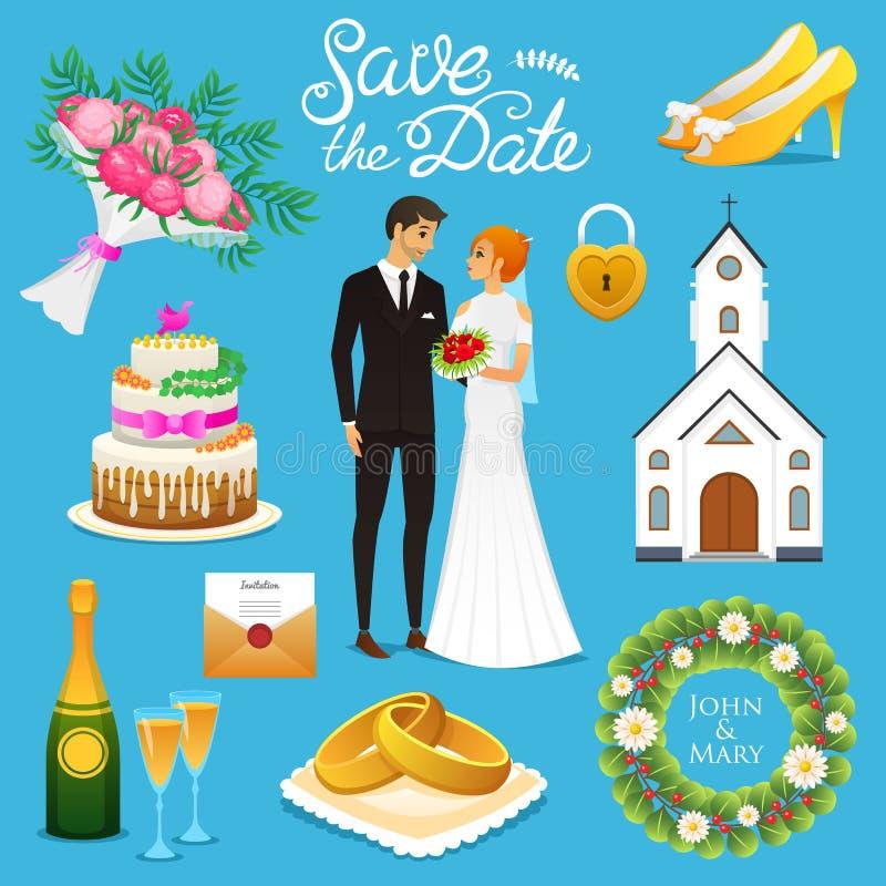 Braut und Bräutigam Hochzeitszeremonie Satz Jungvermähltenikonen Auch im corel abgehobenen Betrag Verheiratetes Paar, Sommer Rust stock abbildung