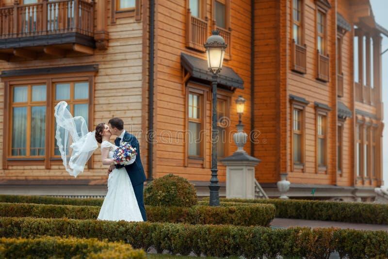 Braut und Bräutigam küssen stockbilder