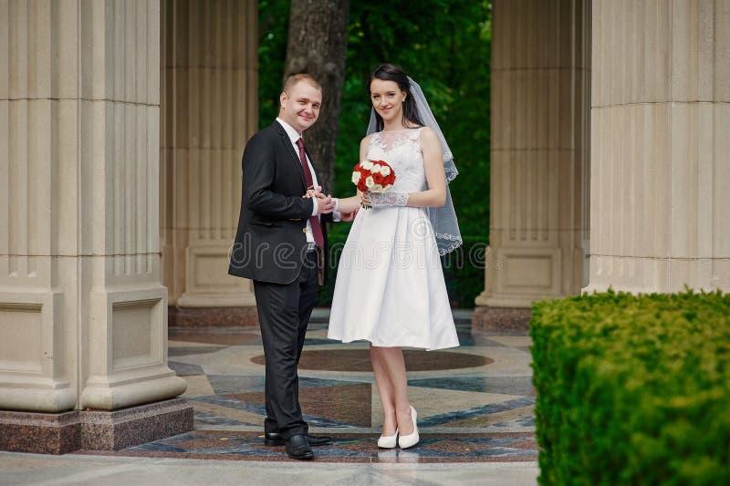 Braut und Bräutigam mit einem Blumenstrauß des Gehens in den Sommerpark stockfotos