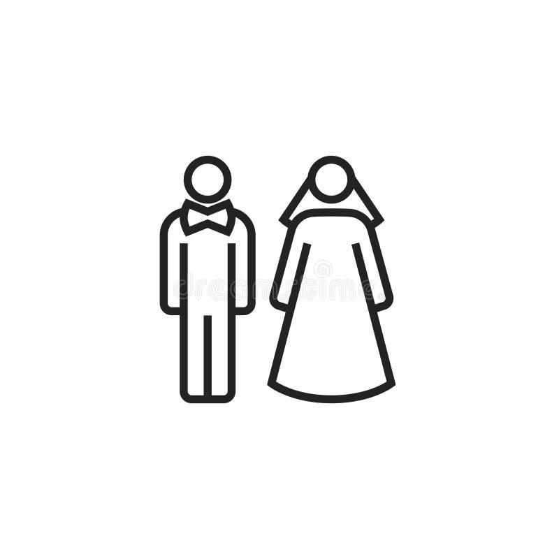 Braut und Bräutigam Oultine Vector Icon, Symbol oder Logo vektor abbildung