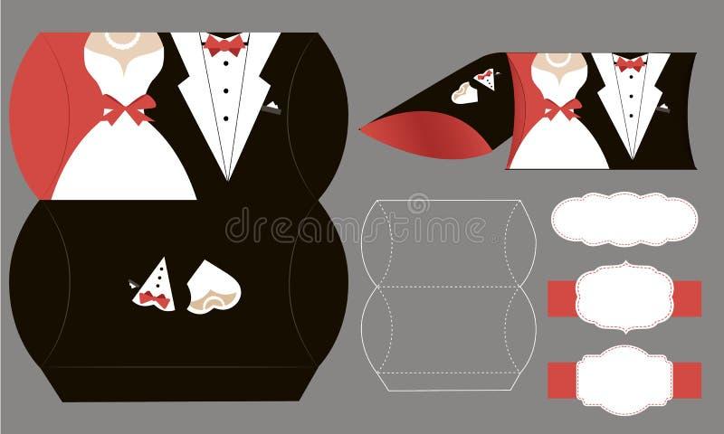 Braut und Bräutigam Papier-bonbonniere, Süßigkeitskasten Vektorkastenschablone stock abbildung