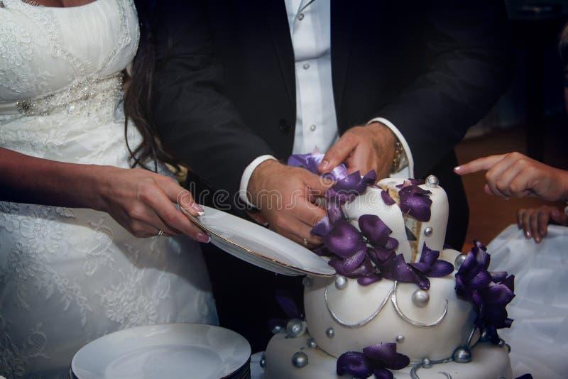 Braut und Bräutigam schnitten eine Hochzeitstorte lizenzfreie stockbilder