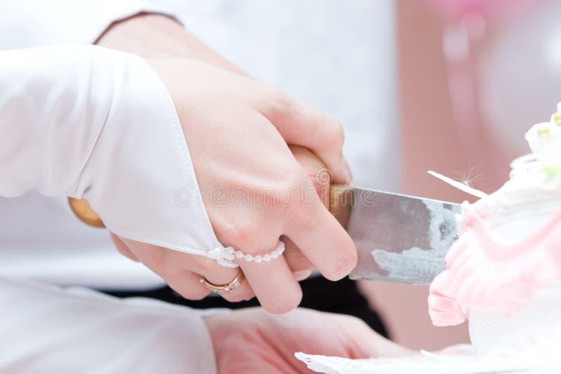 Braut und Bräutigam schnitten einen Hochzeitskuchen lizenzfreies stockbild