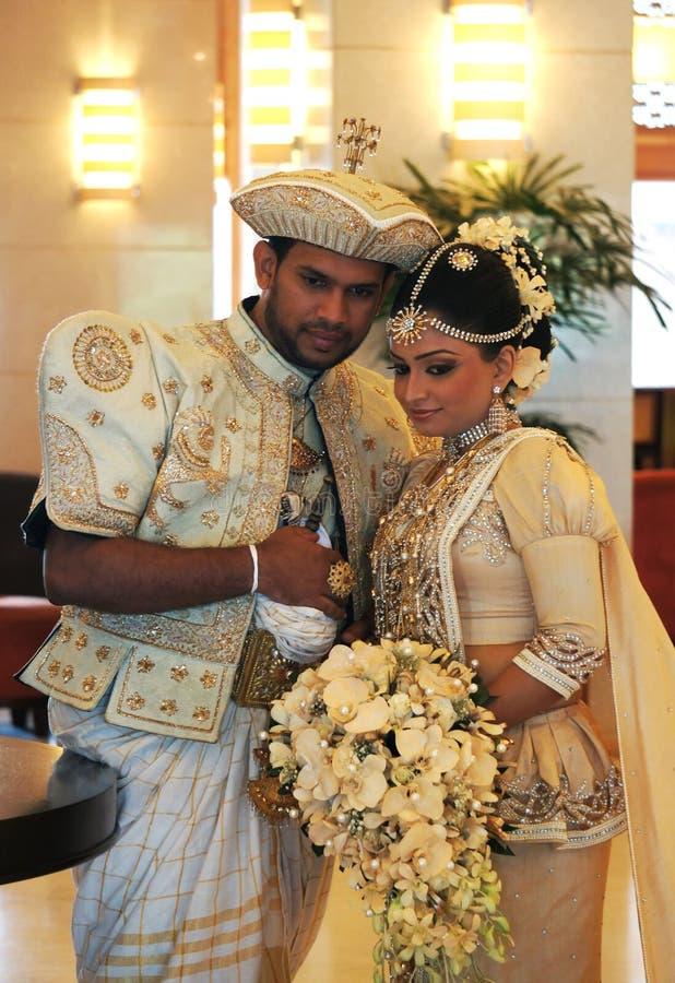 Braut und Bräutigam in Sri Lanka stockbilder
