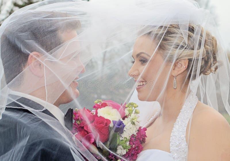 Braut und Bräutigam unter Schleier lizenzfreie stockbilder