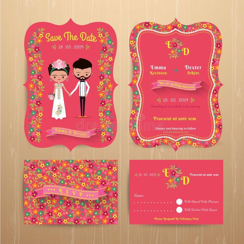 Braut- und Bräutigamrustikale Blumenhochzeitseinladungskarte mit Abwehr stock abbildung