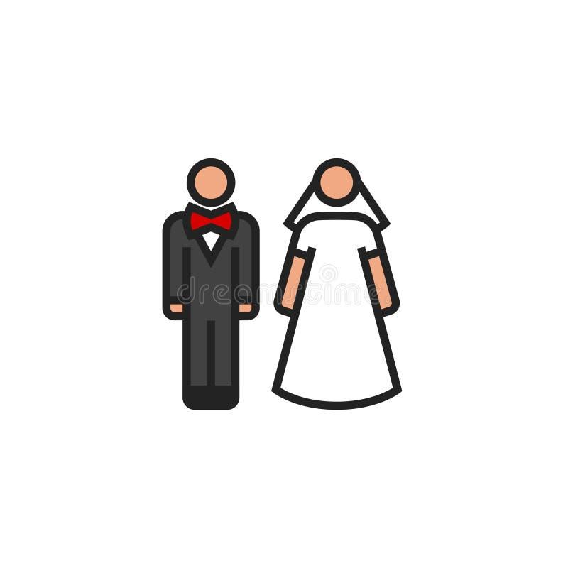 Braut und Br?utigam Flat Icon Vector, Symbol oder Logo stock abbildung