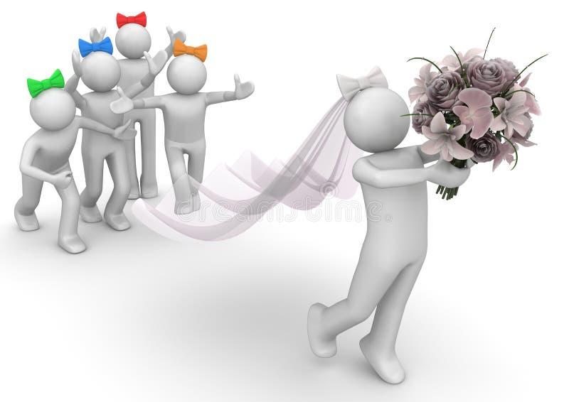 Braut und Brautjunfern lizenzfreie abbildung