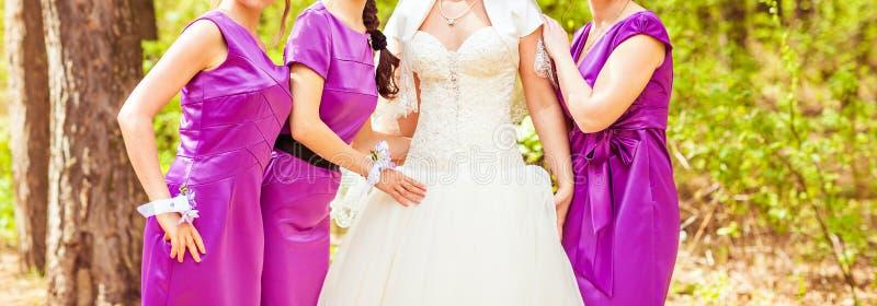 Braut und Brautjungfern im Park lizenzfreies stockfoto