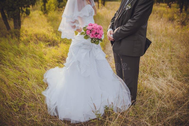 Braut und der Bräutigam, der ihre Ringe zeigt lizenzfreies stockfoto