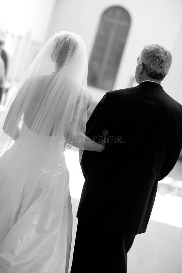 Braut und Vater stockbilder