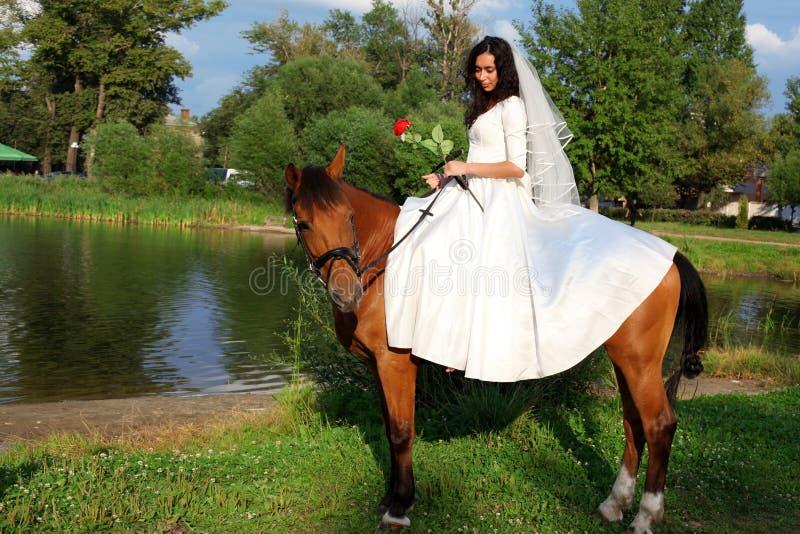 Braut zu Pferde lizenzfreie stockfotos