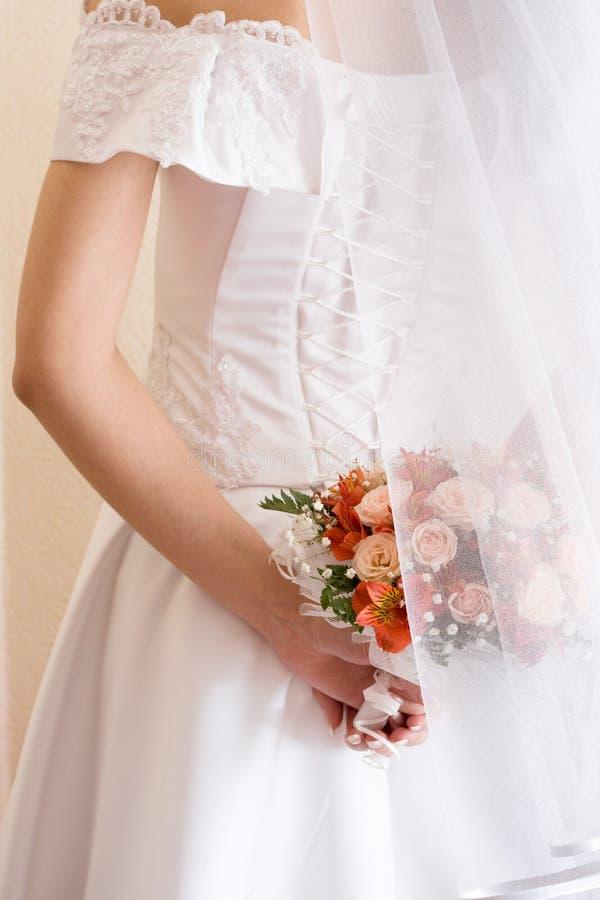 Brautbündel und Spitze stockfoto