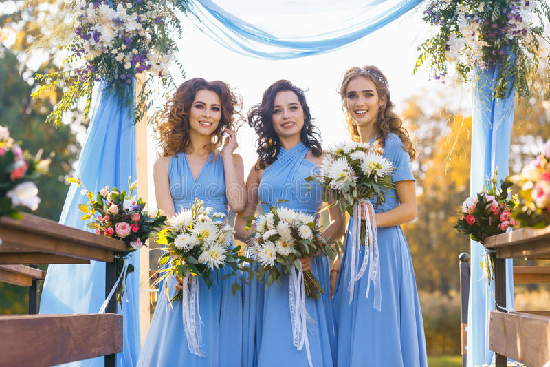 Brautjungfern im Park lizenzfreies stockfoto