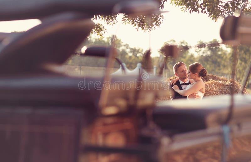 Brautpaare, die auf Heu sitzen lizenzfreies stockbild