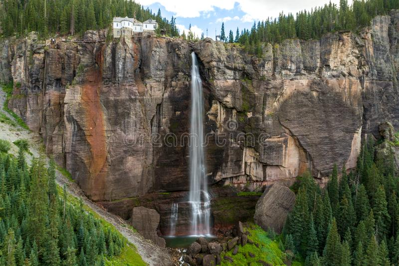Brautschleier-Fälle, Tellurid, Colorado lizenzfreies stockfoto