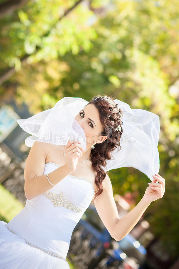 Brautschleier ist geschlossen stockbilder