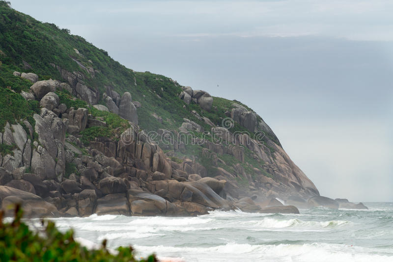 Brava beach in Florianopolis, Santa Catarina, Brazil. One of the main tourists destination in south region royalty free stock photo