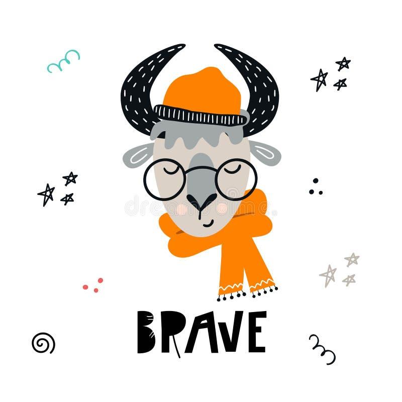 Brave - милой нарисованный рукой плакат питомника с животным быка шаржа в стеклах, шляпе и шарфе и литерности иллюстрация вектора