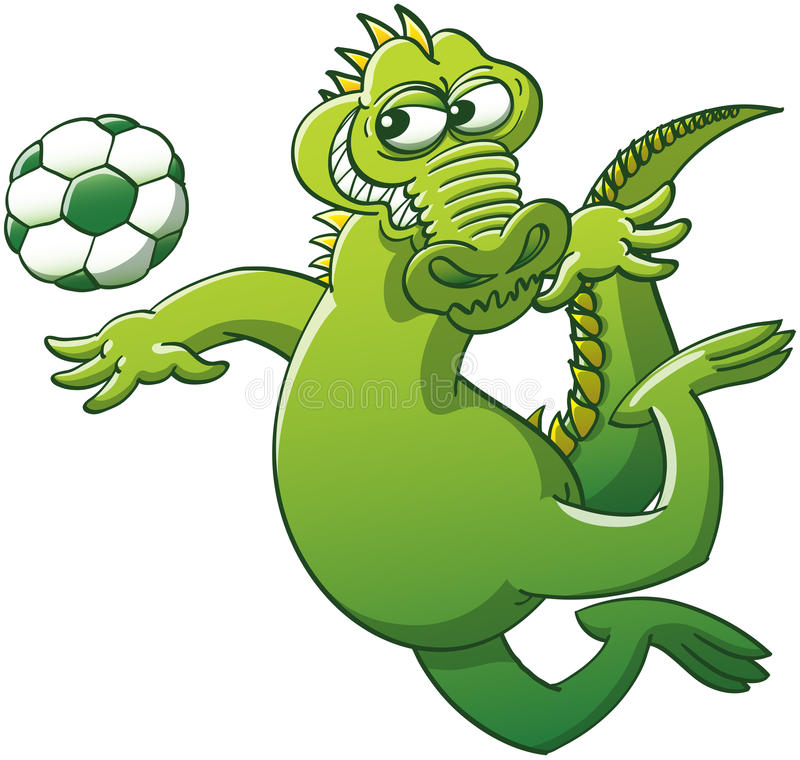 Brave alligator jumping to head a soccer ball vector illustration