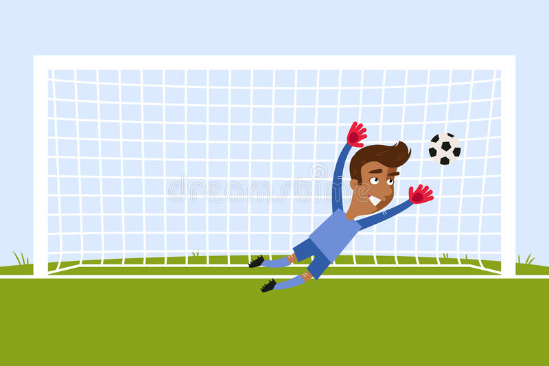 Brave Asian Cartoon Goalkeeper Jumping To Save A Penalty