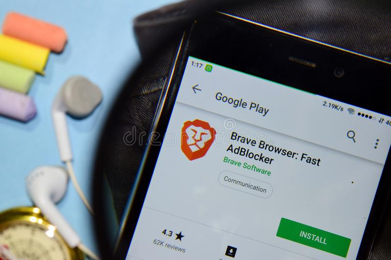Brave Browser: Fast AdBlocker dev app with magnifying on Smartphone screen. stock photography