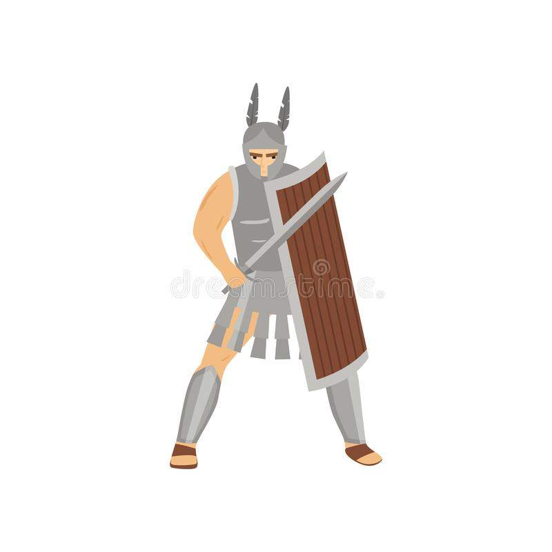 Brave caucasian centurion with menacing look in steel armor isolated on white background vector illustration