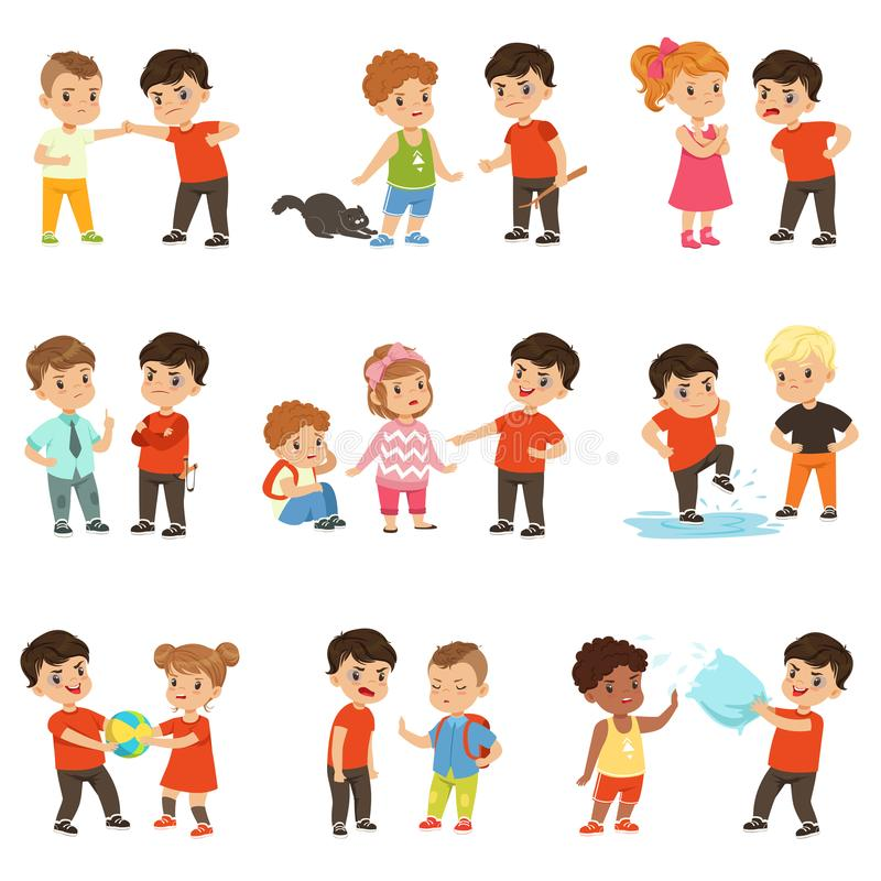 Brave children characters confronting hooligans set, bad boy bullying a smaller kid vector Illustrations on a white royalty free illustration