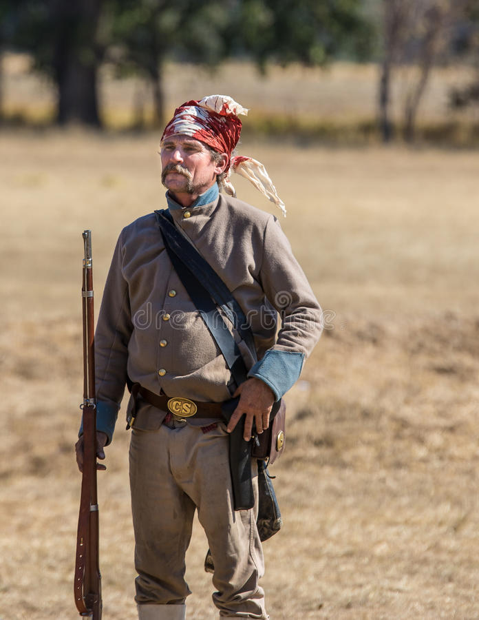 Brave. Civil War era soldier after the battle at the Hawes Farm reenactment in Red Bluff, California stock photography