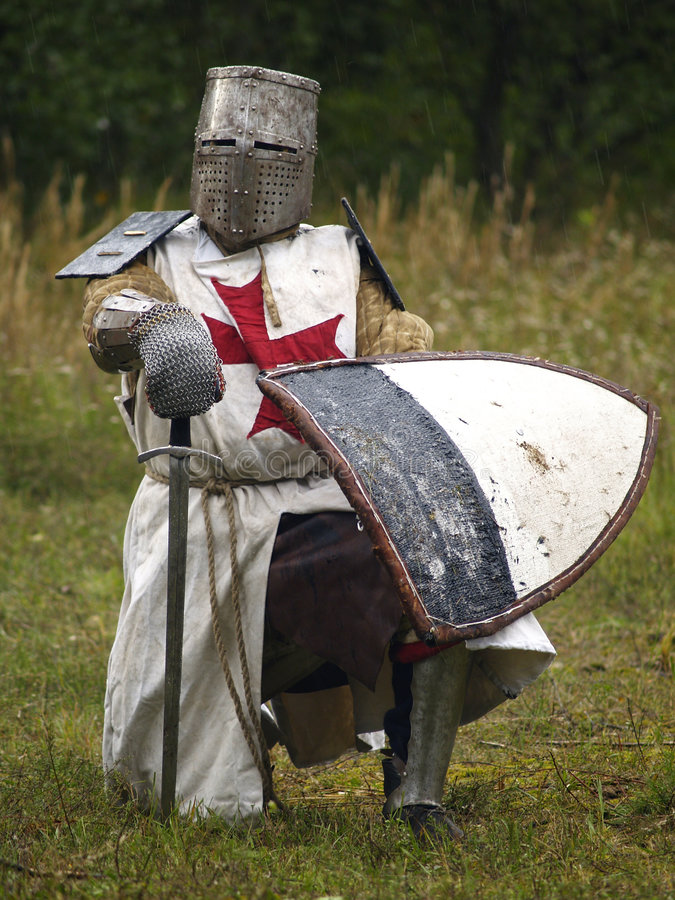 Brave Crusader. Ancient warrior Latvian from Battle of Saule stock photos