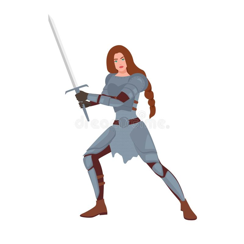Brave female warrior or medieval knight. Woman holding sword and standing in fighting stance isolated on white stock illustration