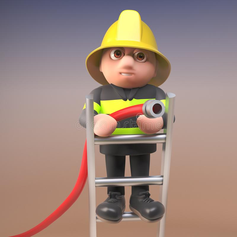 Brave firefighter fireman character in high visibility clothing standing on a ladder and aiming a fire hose at a blaze, 3d vector illustration
