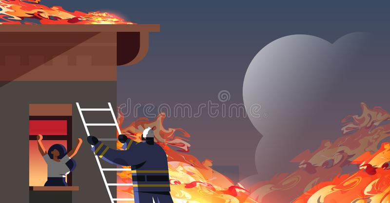 Brave fireman climbing ladder firefighter rescuing woman in burning house firefighting emergency service extinguishing royalty free illustration