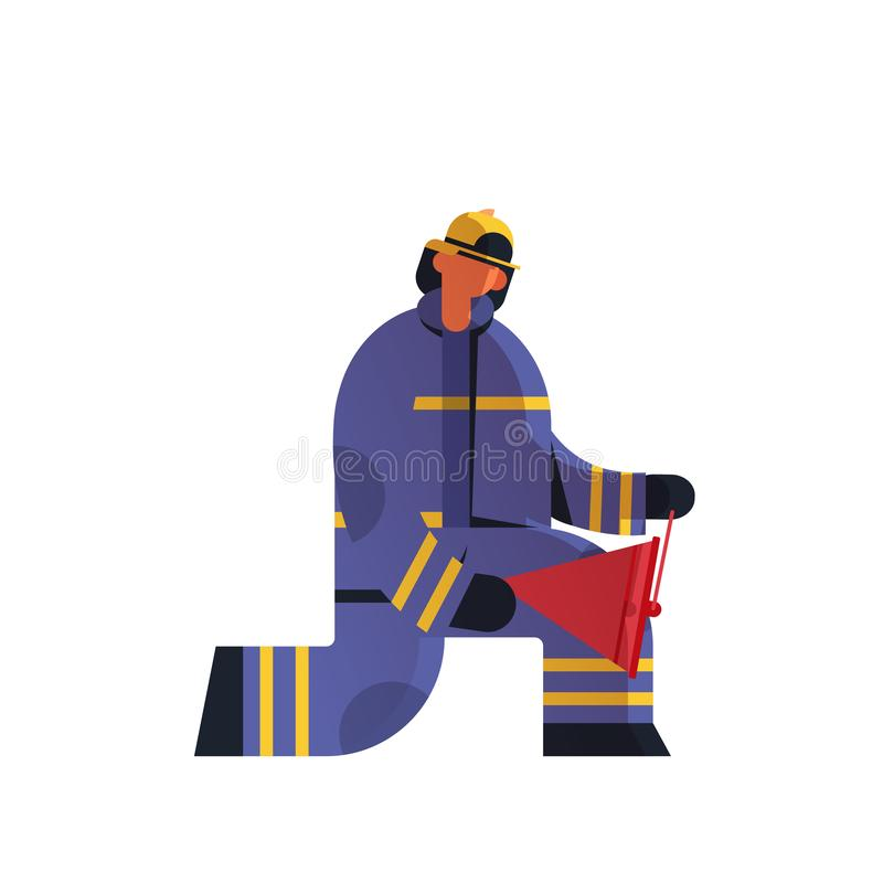 Brave fireman using red buckets extinguishing fire firefighter wearing uniform and helmet firefighting emergency service vector illustration