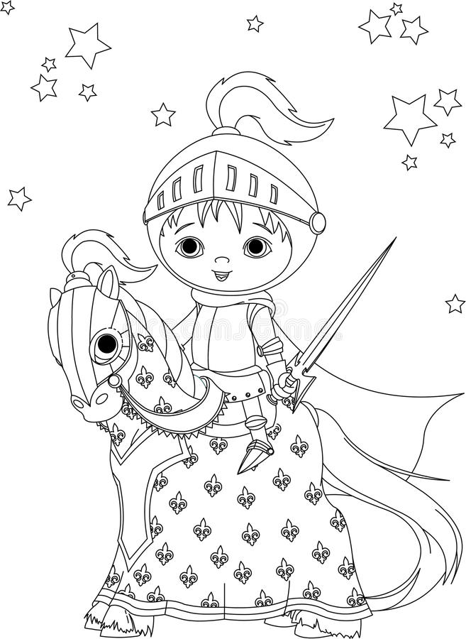 Download The Brave Knight On The Horse Coloring Page Stock Vector - Illustration: 18765179