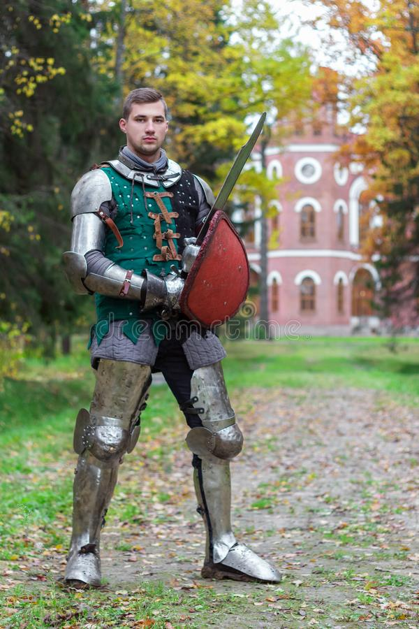 Brave knight ready for battle  fighter powerful medieval stock photography