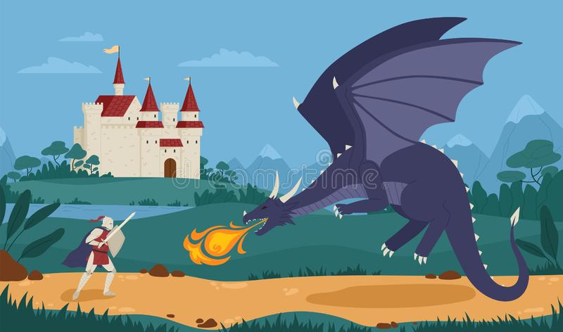 Brave knight or swordsman fighting with dragon against medieval castle on background. Legendary hero struggle against vector illustration