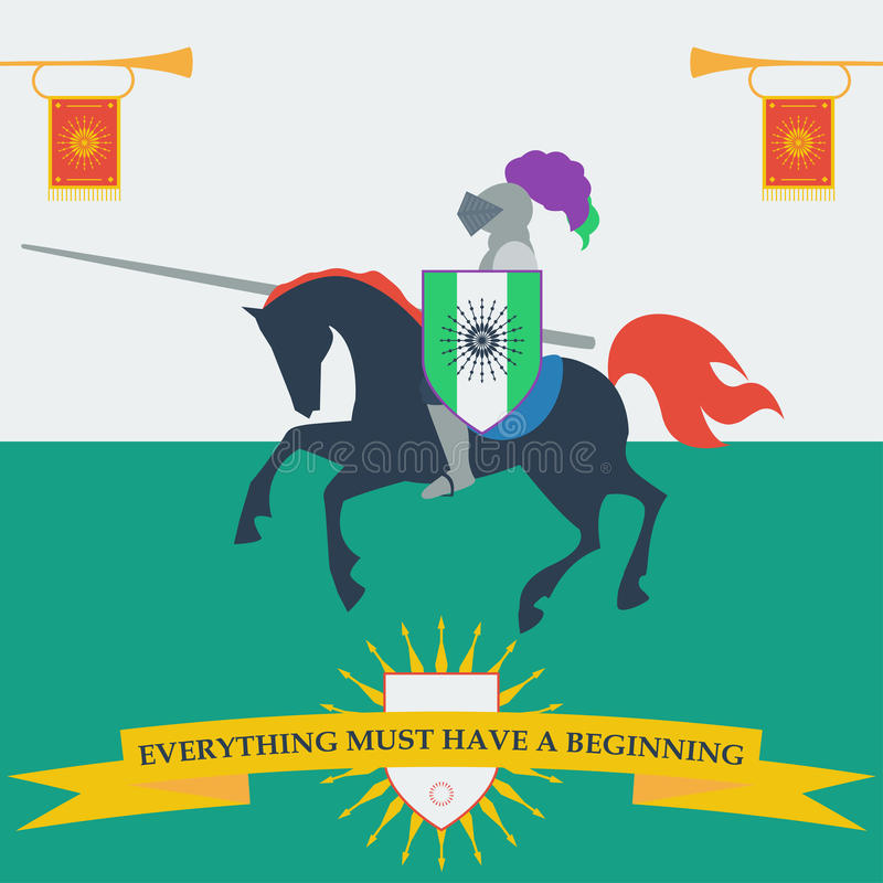 Brave knight in trendy flat style. With a motivating slogan royalty free illustration