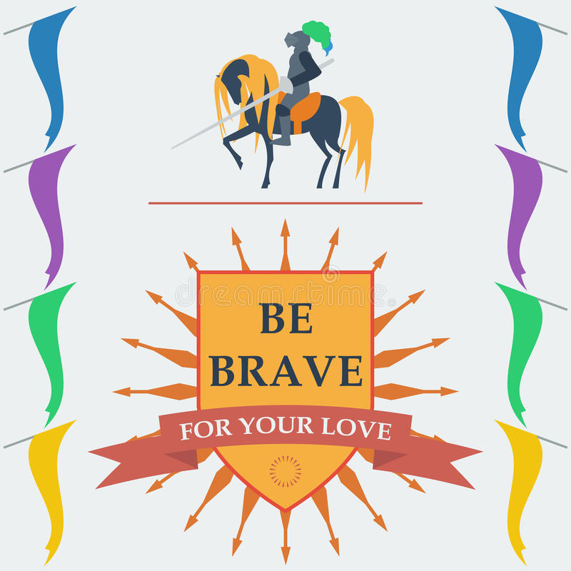 Brave knights in trendy flat style. With a motivating slogan royalty free illustration