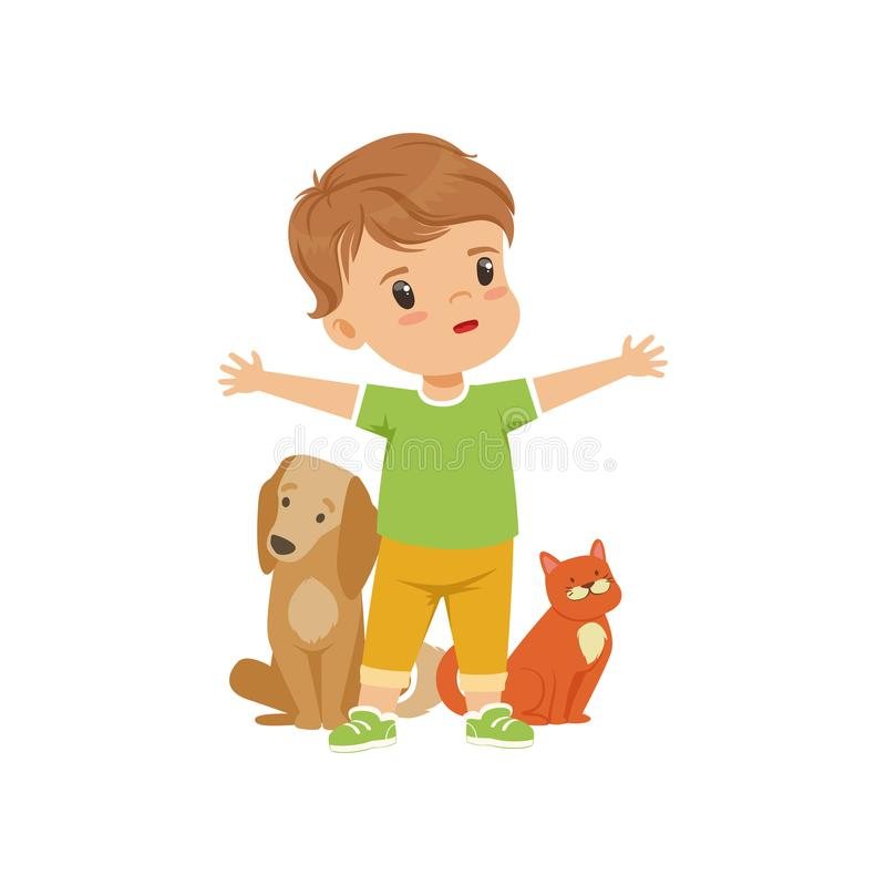 Brave little boy protecting and caring for animals vector Illustration on a white background. Brave little boy protecting and caring for animals vector vector illustration