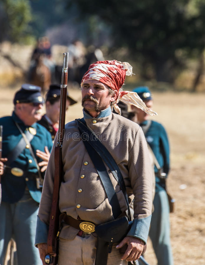 Brave Men. Civil War era soldiesr after the battle at the Hawes Farm reenactment in Red Bluff, California royalty free stock photos