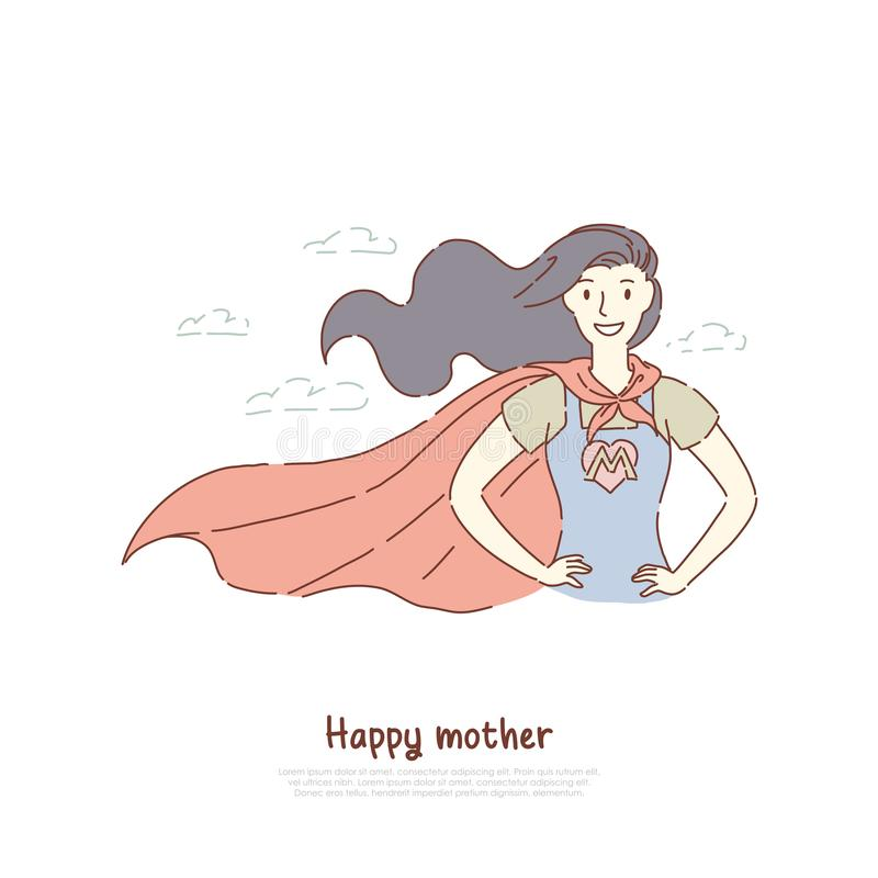 Brave mother standing in superhero posture, super mom in costume with letter, best parent, happy motherhood, parenting banner royalty free illustration