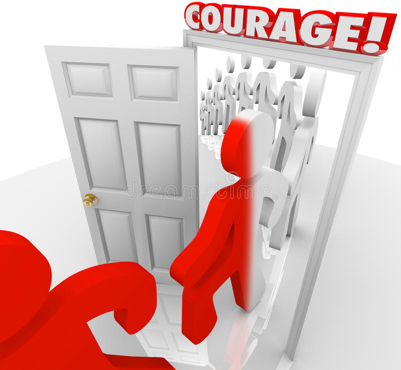 Brave People Marching Through Courage Door Fearlessness. People marching through the doorway marked Courage to illustrate being brave in the face of fear or a royalty free illustration